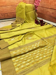 WONDERFUL   YELLOW   COLOR LINEN DESIGNER SAREEE