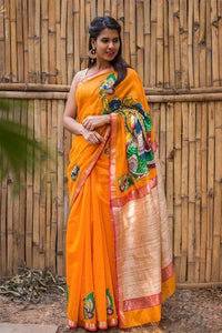 ADHESIVE  ORANGE COLOR LINEN DESIGNER SAREEE