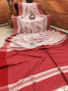 ADHESIVE LIGHT PINK AND RED COLOR LINEN DESIGNER SAREEE
