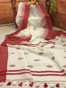 PREETY WHITE AND RED  COLOR LINEN DESIGNER SAREEE