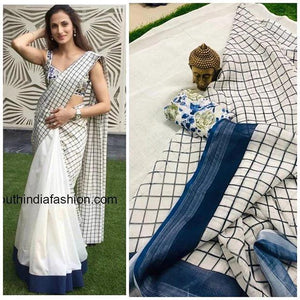 AWESOME  WHITE   COLOR LINEN DESIGNER SAREEE