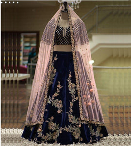 Out standing blue Color Embroidery Work Lehenga choli.