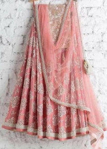 Out standing Pink Color Embroidery Work Lehenga choli.