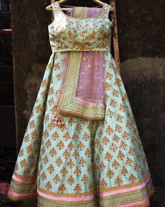 Preety Pista Green Color Embroidery Work Lehenga Choli