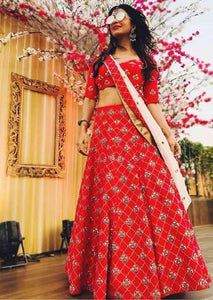 Rich Red Color Embroidery Work Lehenga Choli