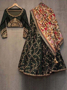Dark Green Color Tapeta Silk Lehenga Choli