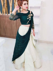 Cream And Dark Green Color Designer Lehenga Choli