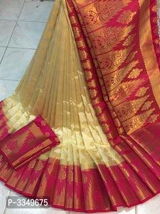 Fancy Cream And Pink Color Designer Saree