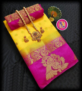 Trendy Yellow And Pink Color Designer Saree