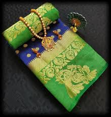Captivating Green And Blue Color Designer Saree