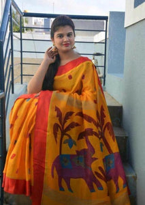 Attractive Musterd Color Digital Printed Heavy Linen Saree. - Bollywood Replica Saree