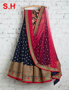 Navy Blue Embroidered Attractive Party Wear Lehenga.