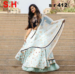 Light Blue Colored Colored Designer Embroidered Satin Banglory Semi-Stitched Lehenga Choli