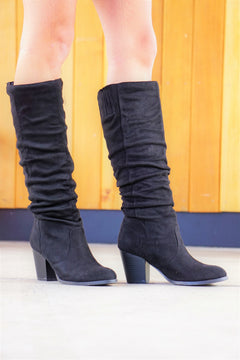 Tall Suede Boots- Black