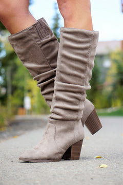 Tall Suede Boots- Tan