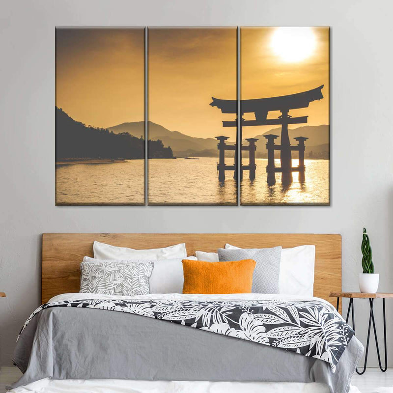 'Itsukushima Shrine at Sunset' Framed Multi Panel Canvas Wall Art