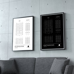 "Hiragana & Katakana Charts for Japanese Learning (Two 11""x17"" High Quality Laminated Prints) Poster Genki Kanji Poster Hiragana & Katakana Combo Pack"