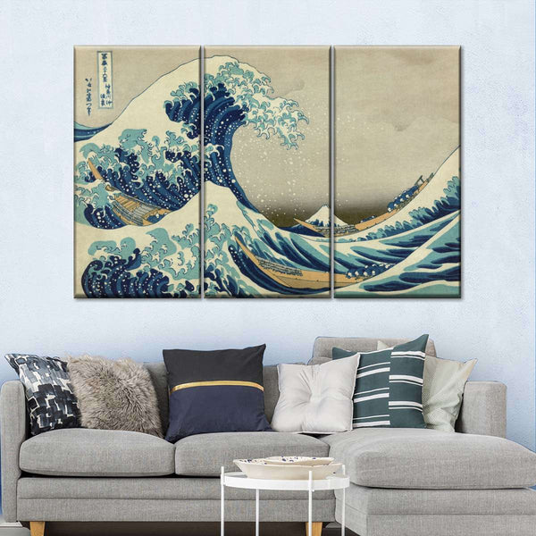 'The Great Wave Off Kanagawa' Framed Multi Panel Canvas Wall Art Poster Genki Kanji Poster