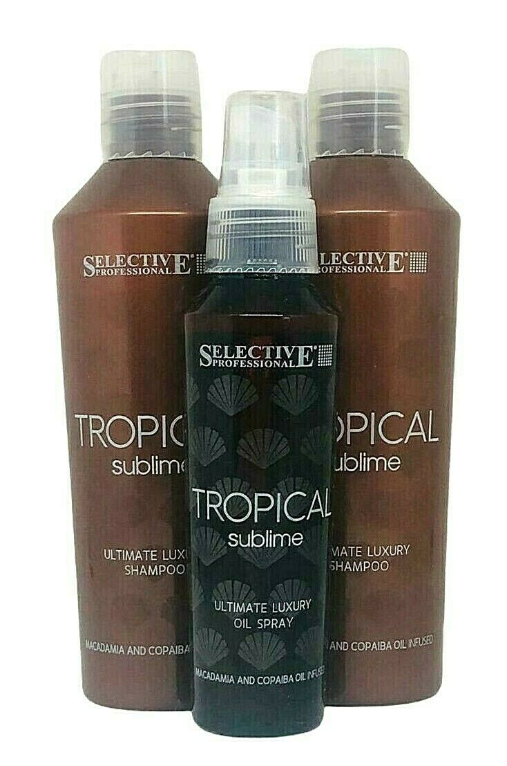 Selective Professional Tropical Sublime Set - 2xShampoo 250ml + Oil Spray 100ml