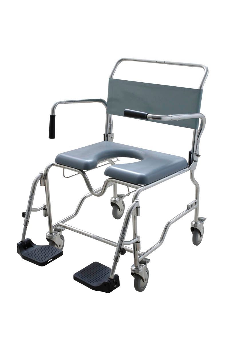 60cm BARIATRIC- FOOTPLATE-SAFETY ARMS COMMODE