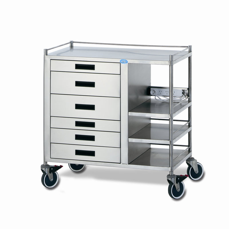 ENDOSCOPY TROLLEY WITH SIDE SHELVES
