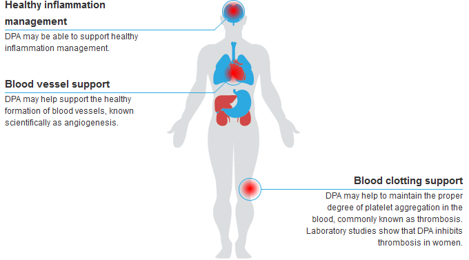 The use of DPA to support healthy blood clotting is one of the most common reasons for taking DPA.  It is also commonly used to support healthy inflammation management and blood vessel function.