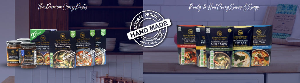Cook like a Thai Chef at Home with the Blue Elephant Thai Premium range of products. 100% Made in Thailand & All-Natural.
