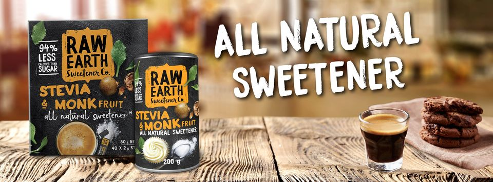 Made from the finest blend of the best stevia and monk fruit, Raw Earth provides you with a delicious Natural Table Top Sweetener that's great for your taste buds and good for the soul. Available at Woolworths Australia wide