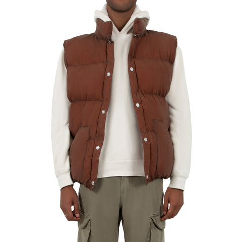 Waxed Puff Vest - Chaga Brown