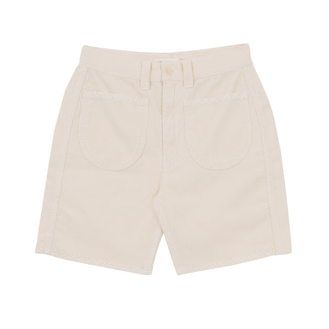 Embroidered Corduroy Shorts - Natural