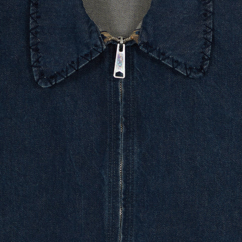 Embroidered Zip Jacket - Denim