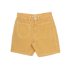 Embroidered Corduroy Shorts - Chamomile Dyed