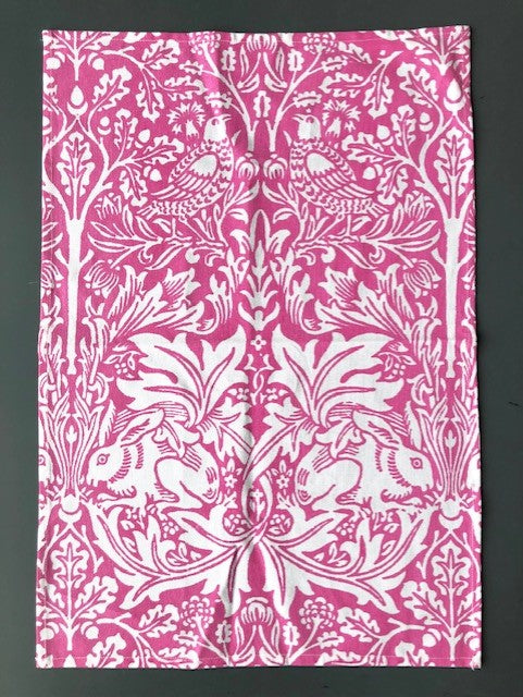 Passenger Press Tea Towel: William Morris 'Brother Rabbit' (Pink)