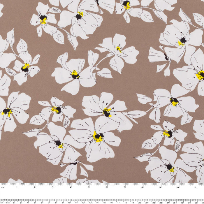 COLOR POP Stretch Sateen print - Anemone - Brown