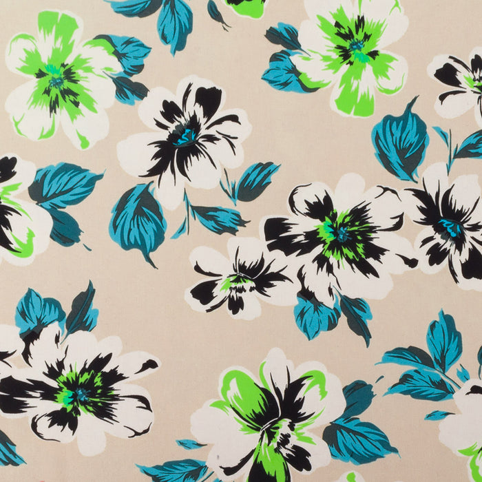 COLOR POP Stretch Sateen print - Pansy - Ivory