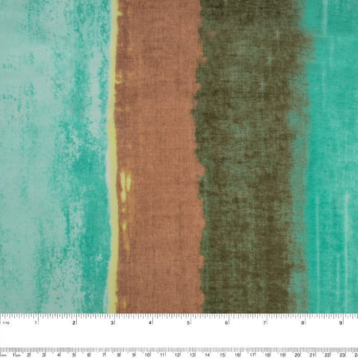 BELLA Polyester Silk Print - Stripe - Green