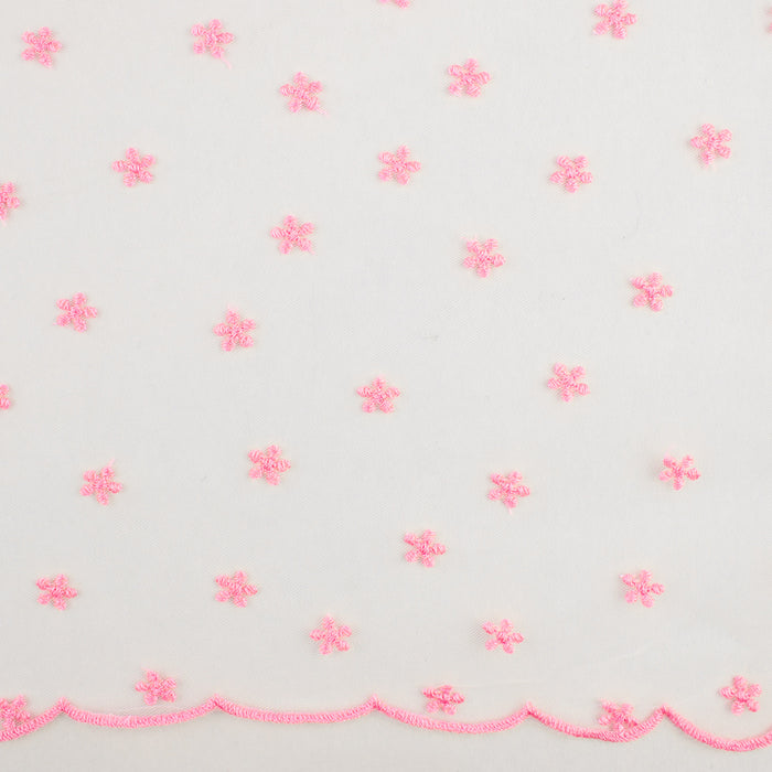 CHERIE Embroidered Mesh - Daisy - Flamingo