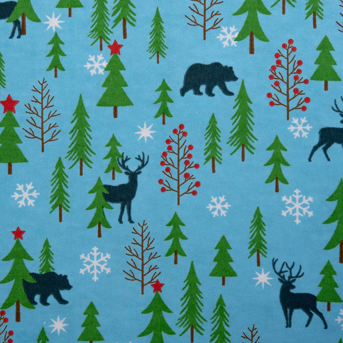 Christmas Flannelette - Deer - Blue