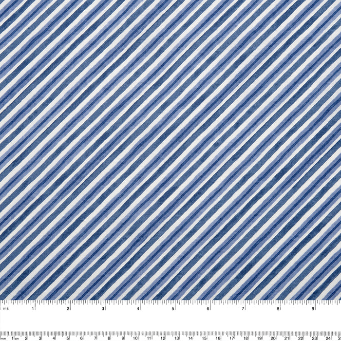 WINTER GNOMES Printed cotton - Diagonal stripe - Nordic blue