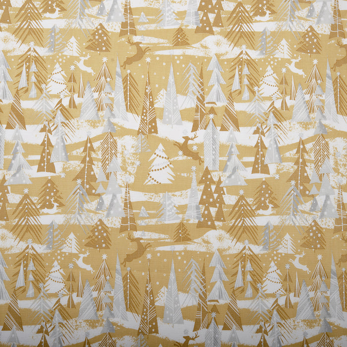 HOLLY VILLAGE  Printed cotton - Reindeer forest - Gold