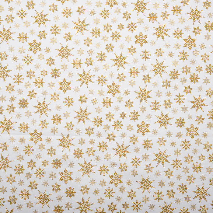 HOLLY VILLAGE Printed cotton - Snowflake - Gold
