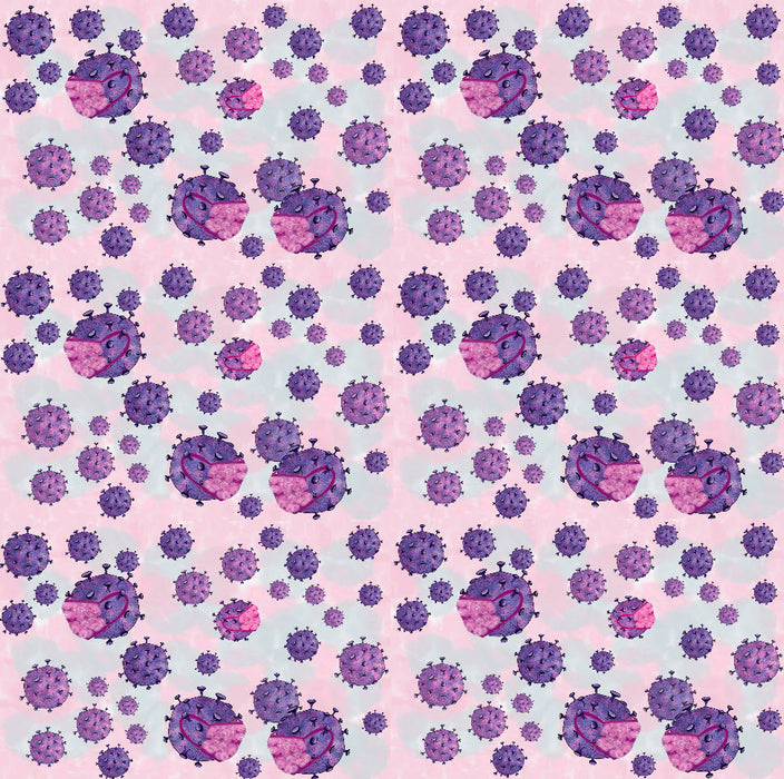Printed poly/cotton sheeting - Covid-19 - Purple