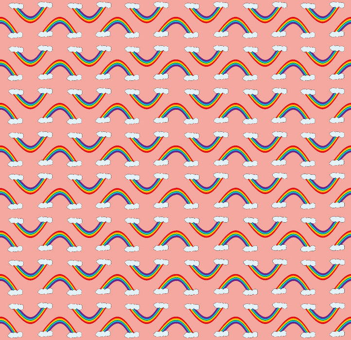 Printed poly/cotton sheeting - Rainbow - Pink