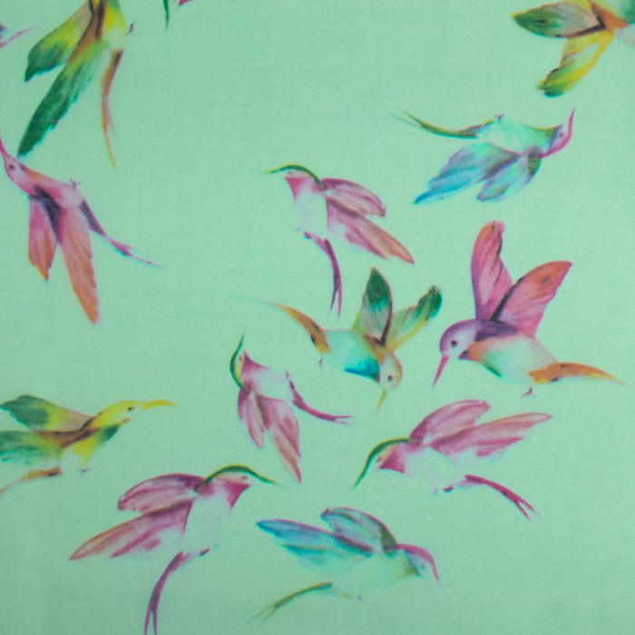 Printed organza - Birds - Green