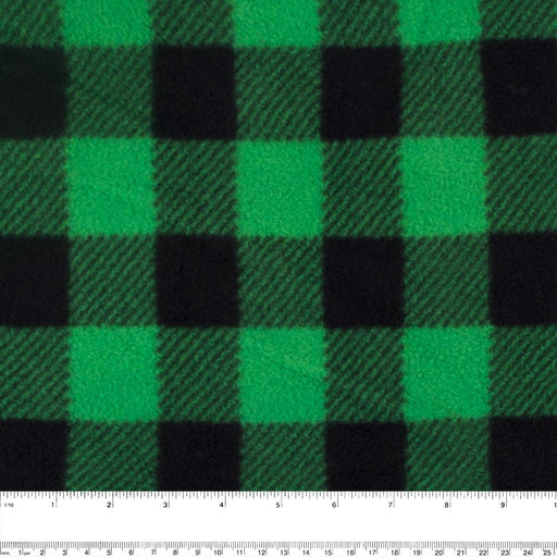 BUFFALO CHECK Anti Pill Fleece - Green / Black