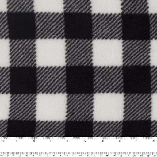 BUFFALO CHECK Anti Pill Fleece - Ivory / Black