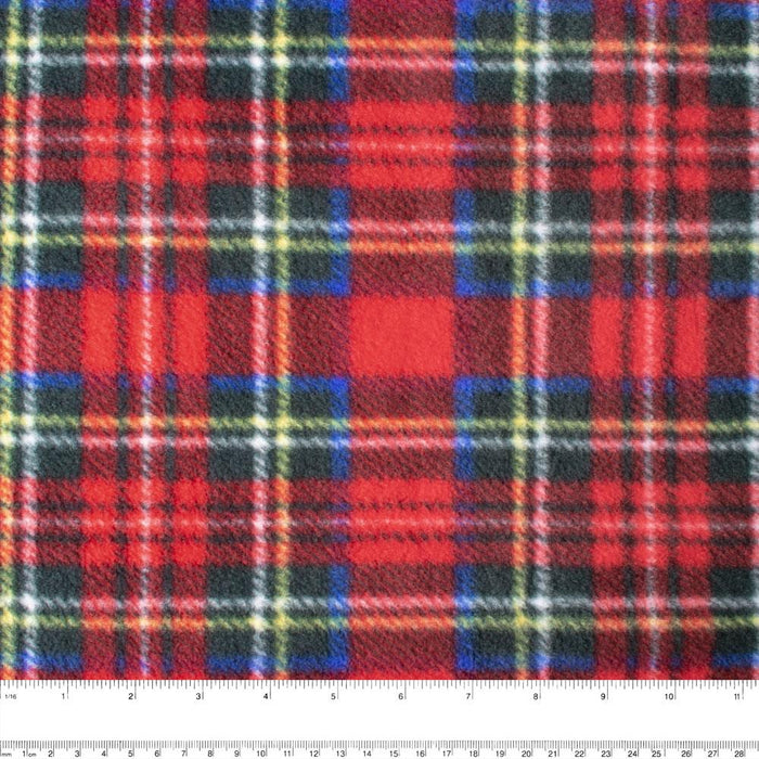 PLAID Bonded to Fleece - Stewart - Red / Yellow