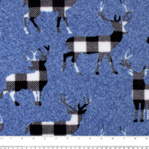 FROSTY Anti Pill Fleece Print - Deers - Blue