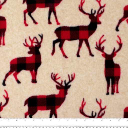 FROSTY Anti Pill Fleece Print - Deers - Red