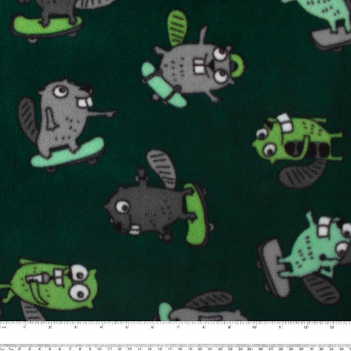 FROSTY Anti Pill Fleece Print - Beavers - Green